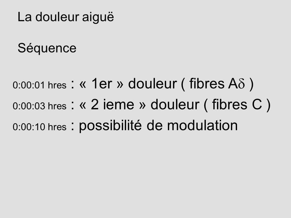 La douleur aiguë Séquence 0:00:01 hres : « 1er » douleur ( fibres Ad )