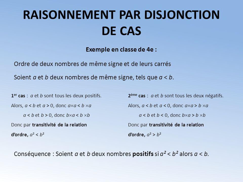 RAISONNEMENT PAR DISJONCTION DE CAS