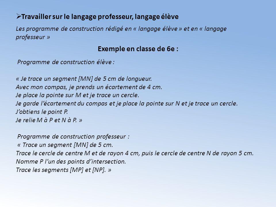 Travailler sur le langage professeur, langage élève