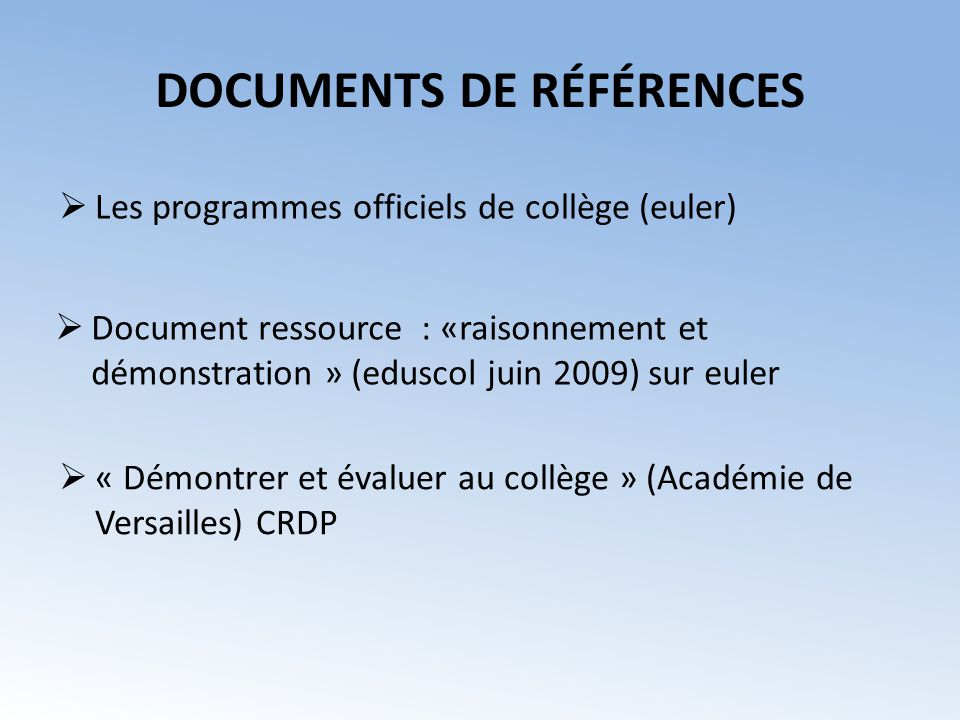 DOCUMENTS DE RÉFÉRENCES