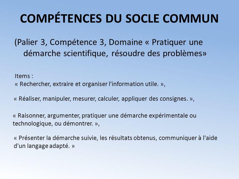 COMPÉTENCES DU SOCLE COMMUN