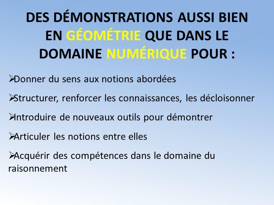 DES DÉMONSTRATIONS AUSSI BIEN EN GÉOMÉTRIE QUE DANS LE DOMAINE NUMÉRIQUE POUR :