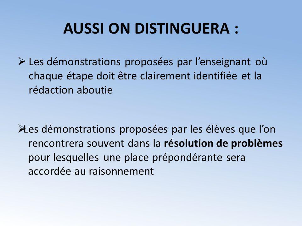 AUSSI ON DISTINGUERA : Les démonstrations proposées par l'enseignant où chaque étape doit être clairement identifiée et la rédaction aboutie.