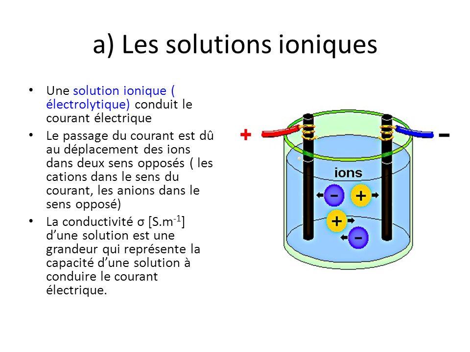 a) Les solutions ioniques