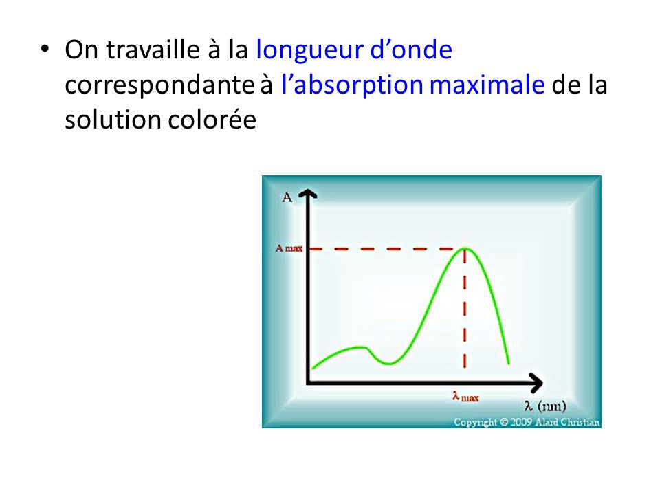 On travaille à la longueur d'onde correspondante à l'absorption maximale de la solution colorée
