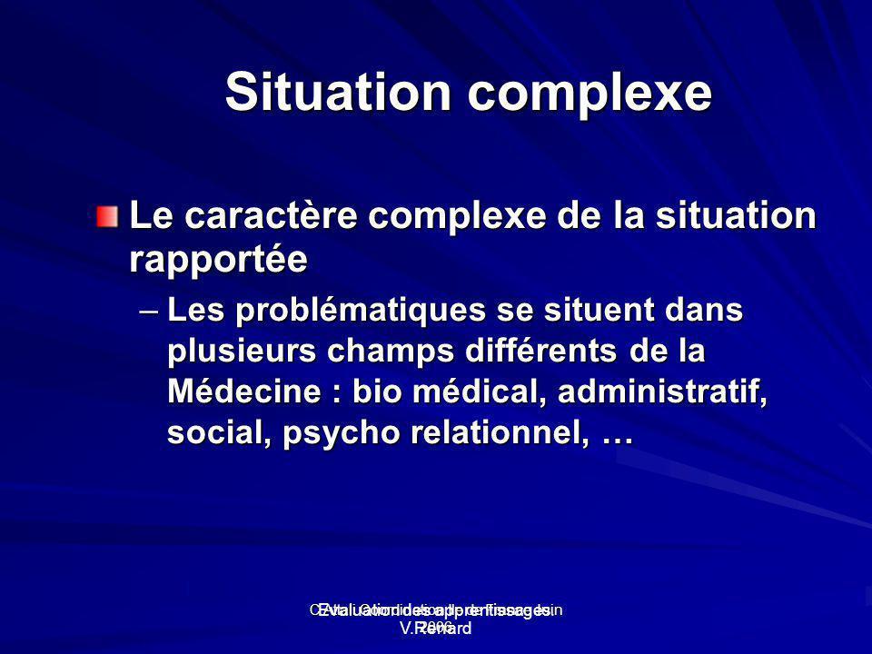 Situation complexe Le caractère complexe de la situation rapportée