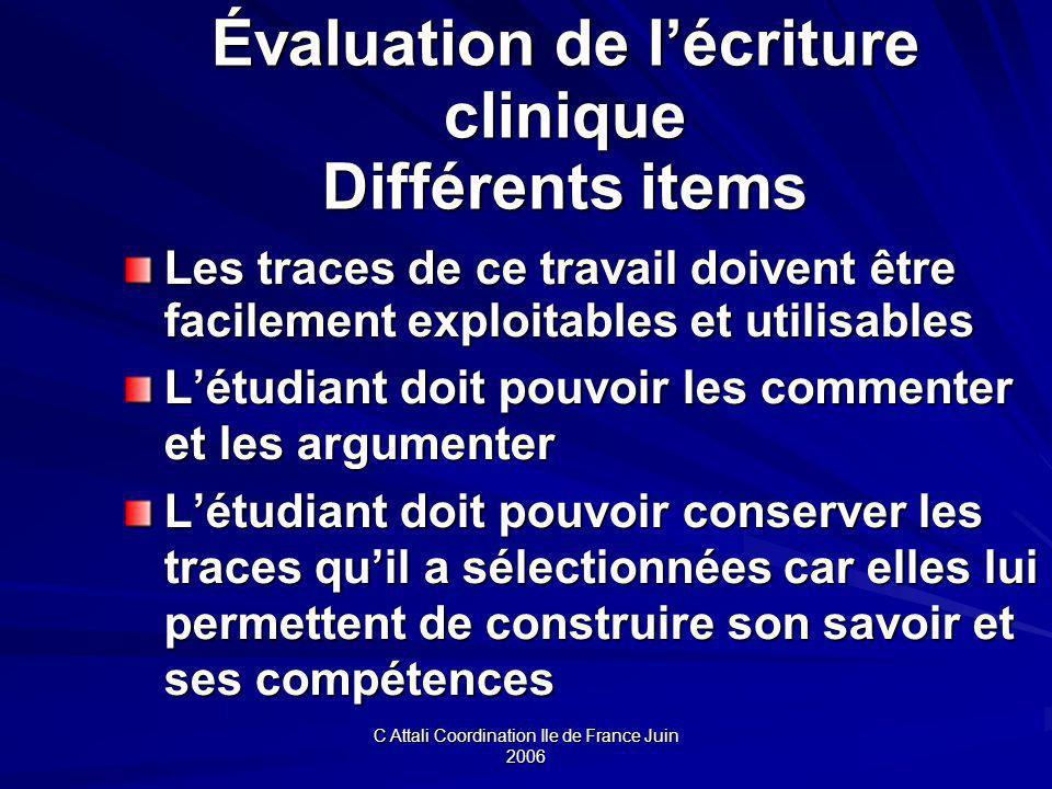 Évaluation de l'écriture clinique Différents items