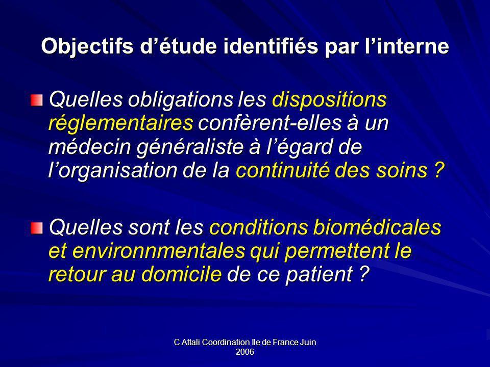 Objectifs d'étude identifiés par l'interne