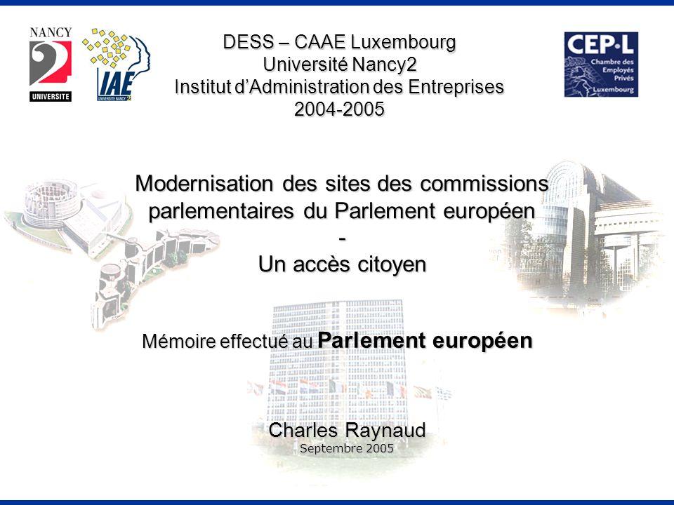 Mémoire effectué au Parlement européen