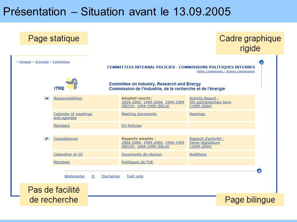 Présentation – Situation avant le 13.09.2005