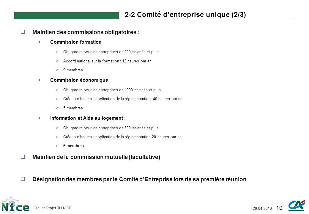 2-2 Comité d'entreprise unique (2/3)