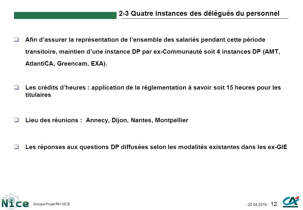 2-3 Quatre instances des délégués du personnel
