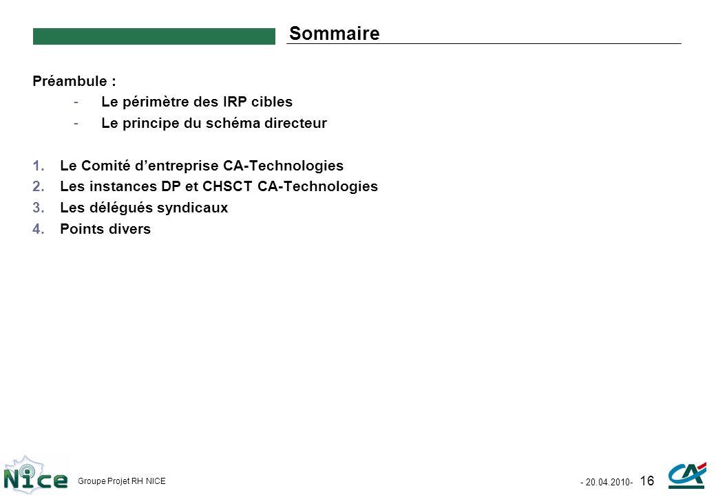 Sommaire Préambule : Le périmètre des IRP cibles