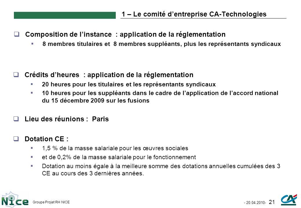 1 – Le comité d'entreprise CA-Technologies