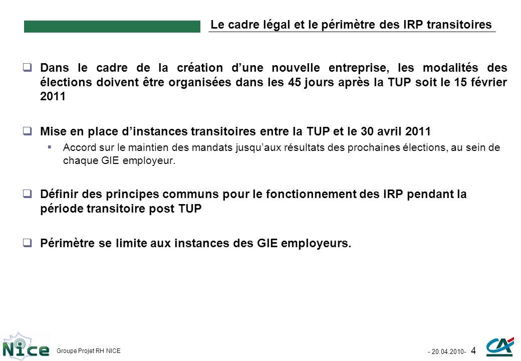 Le cadre légal et le périmètre des IRP transitoires