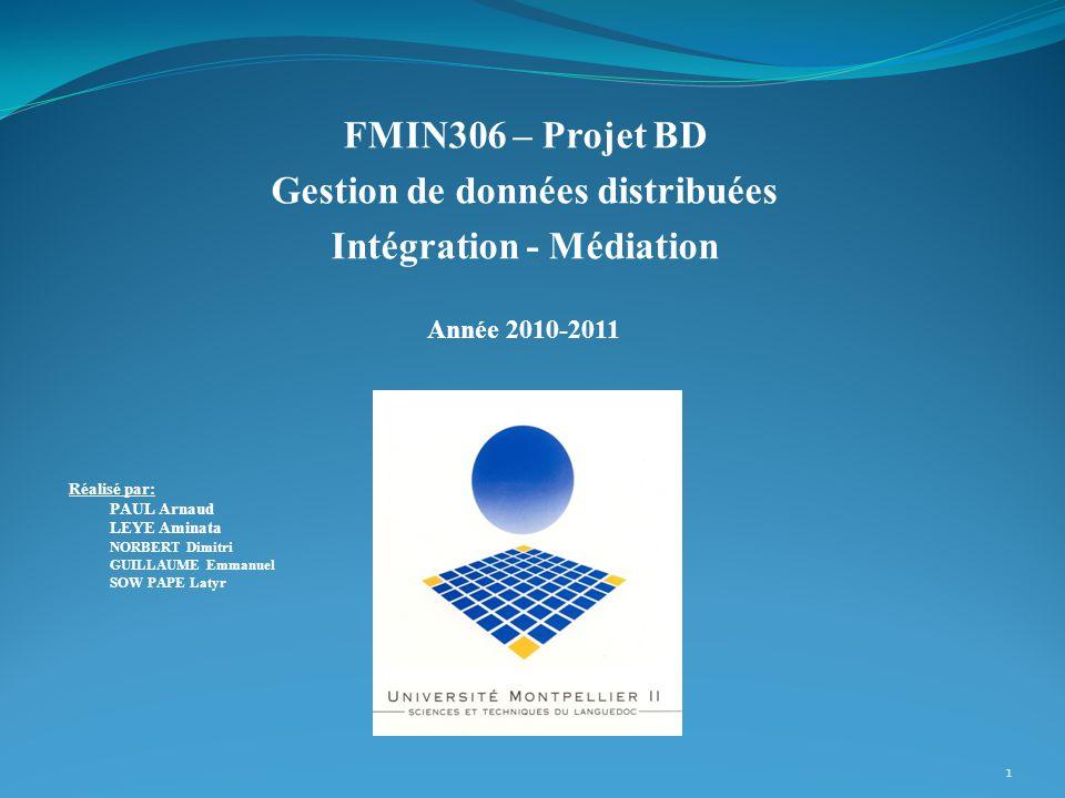 Gestion de données distribuées Intégration - Médiation
