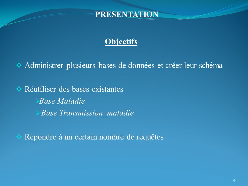 PRESENTATION Objectifs. Administrer plusieurs bases de données et créer leur schéma. Réutiliser des bases existantes.