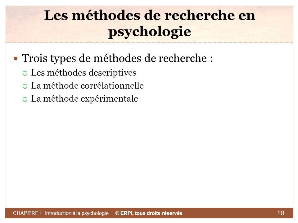 Les méthodes de recherche en psychologie