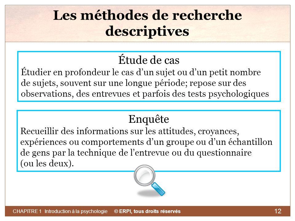 Les méthodes de recherche descriptives