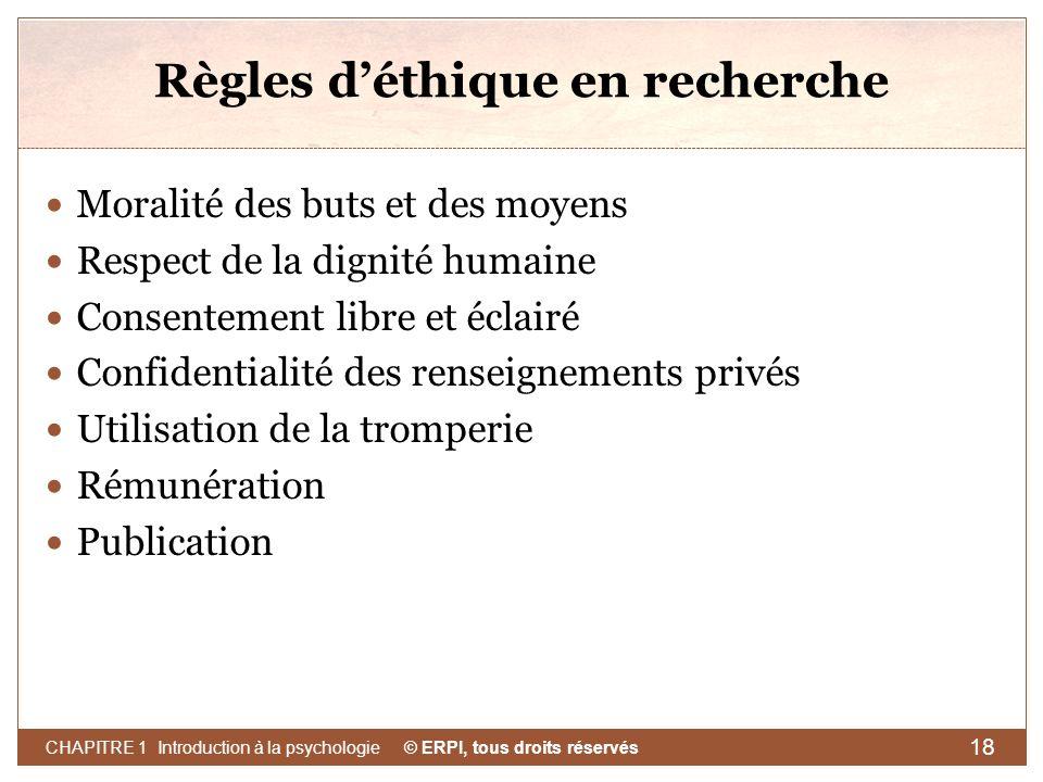 Règles d'éthique en recherche