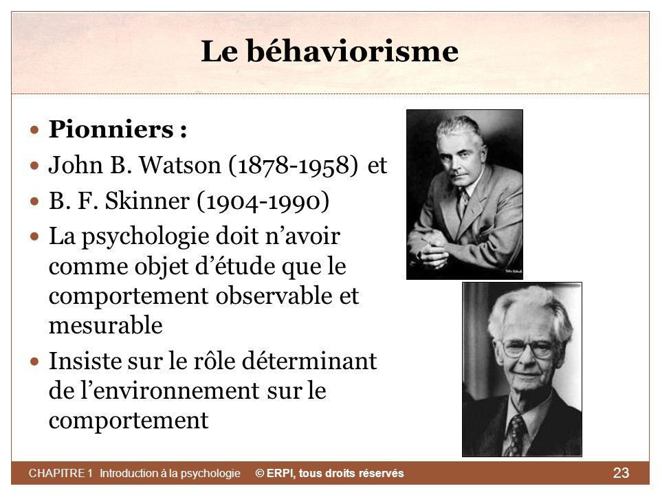 Le béhaviorisme Pionniers : John B. Watson (1878-1958) et