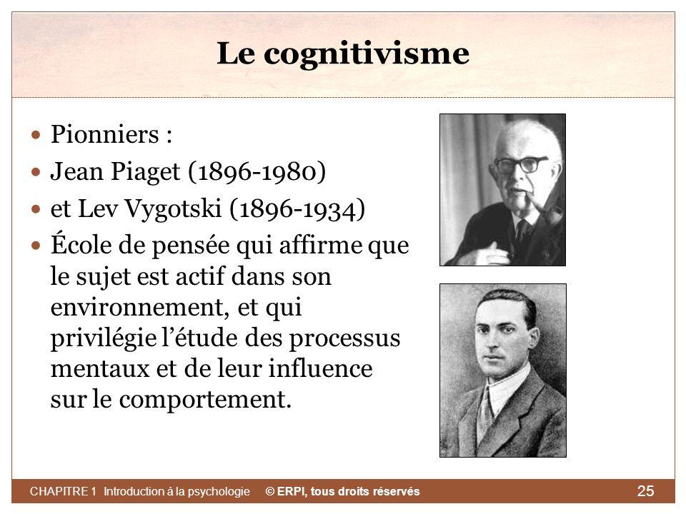 Le cognitivisme Pionniers : Jean Piaget (1896-1980)