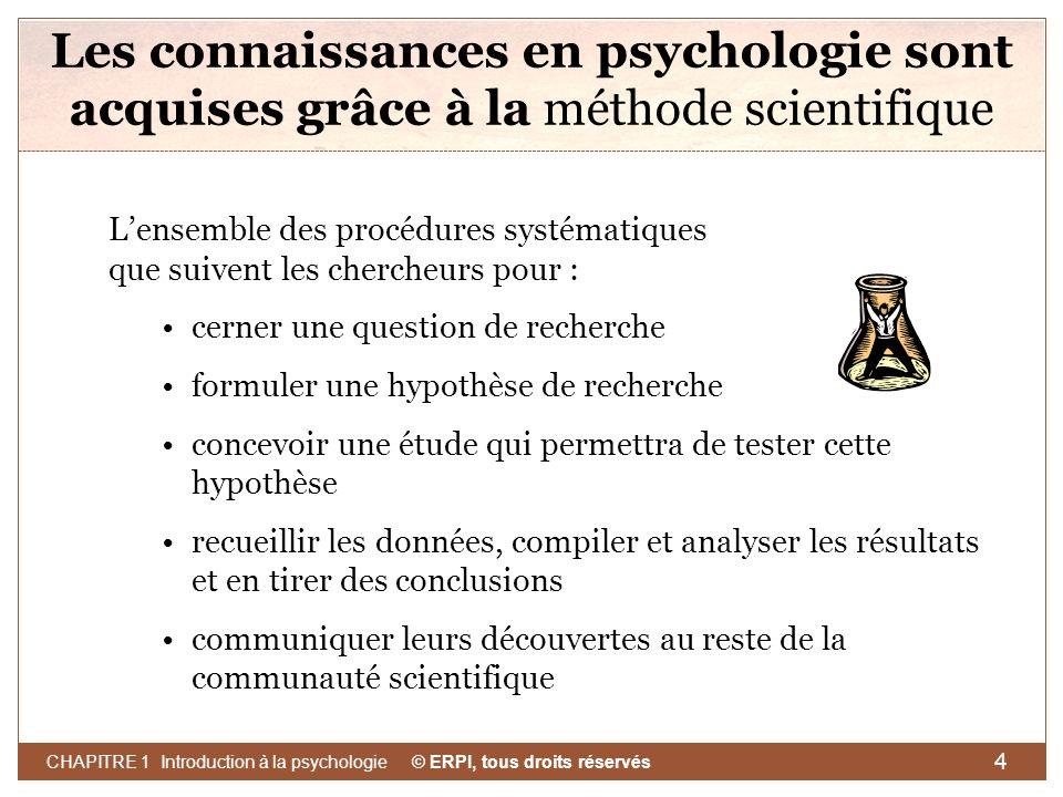 Les connaissances en psychologie sont acquises grâce à la méthode scientifique