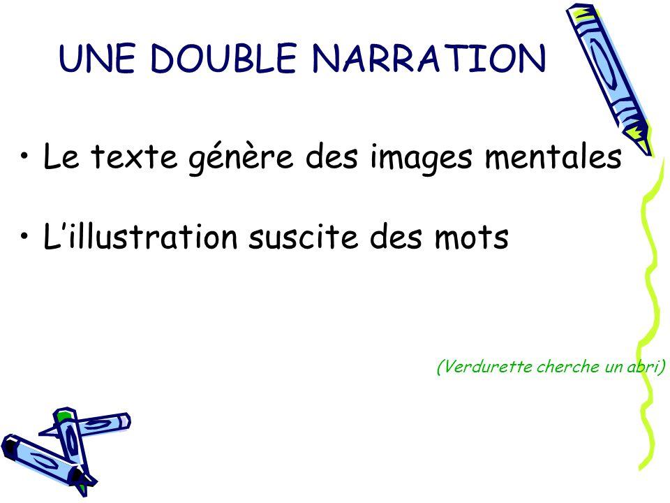 UNE DOUBLE NARRATION Le texte génère des images mentales