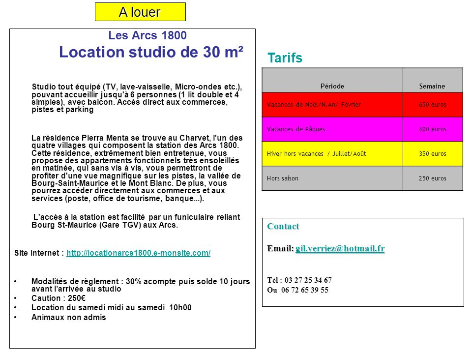 Location studio de 30 m a louer tarifs contact ppt - Office de tourisme de bourg saint maurice ...