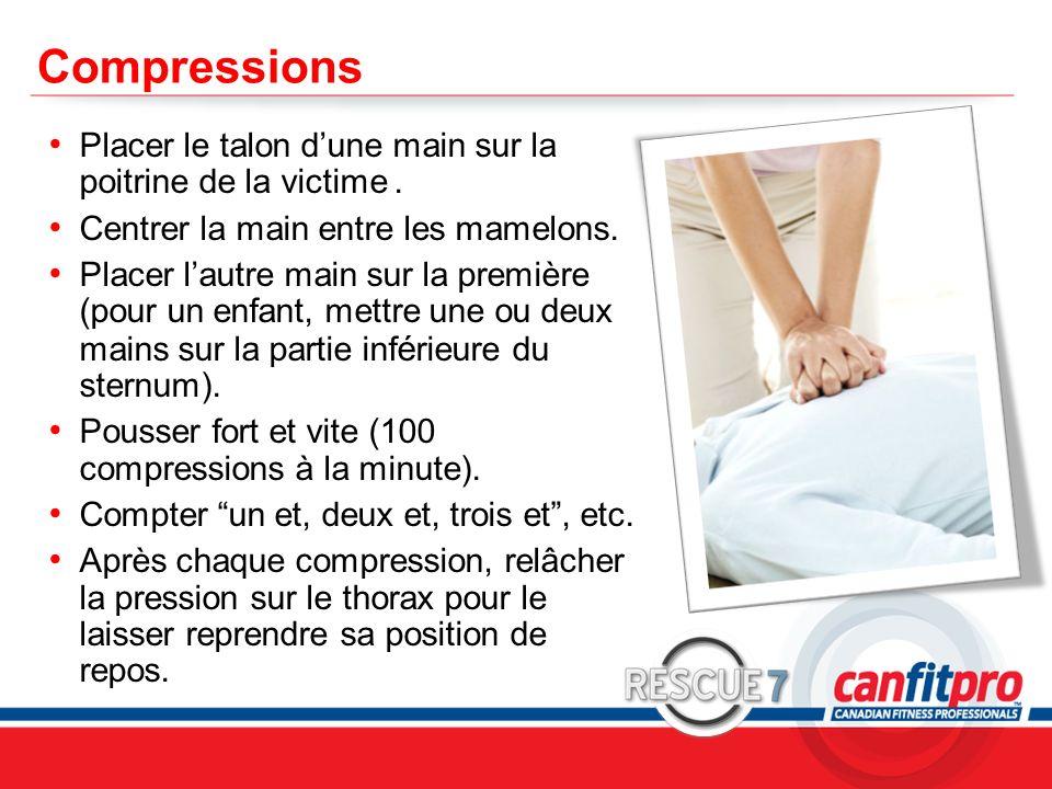 CompressionsPlacer le talon d'une main sur la poitrine de la victime . Centrer la main entre les mamelons.