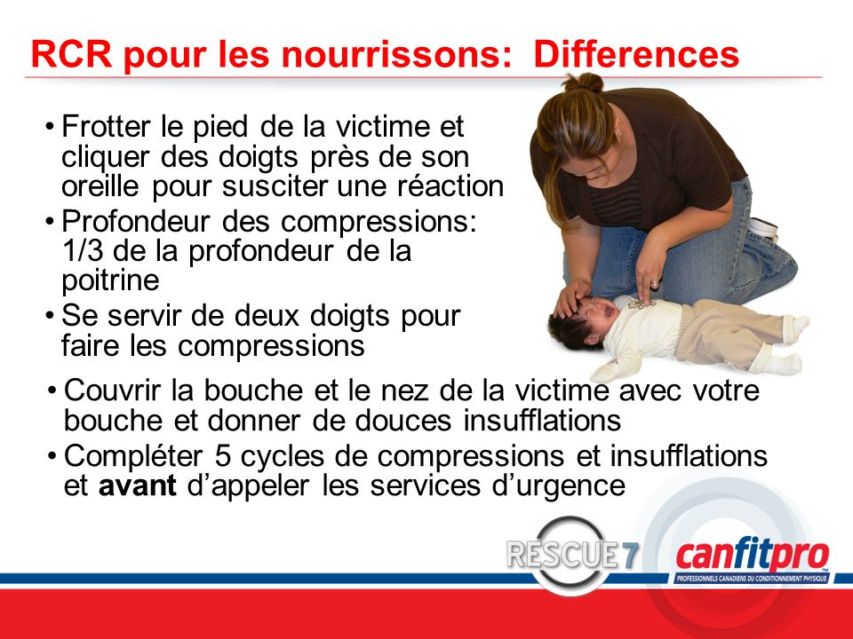 RCR pour les nourrissons: Differences