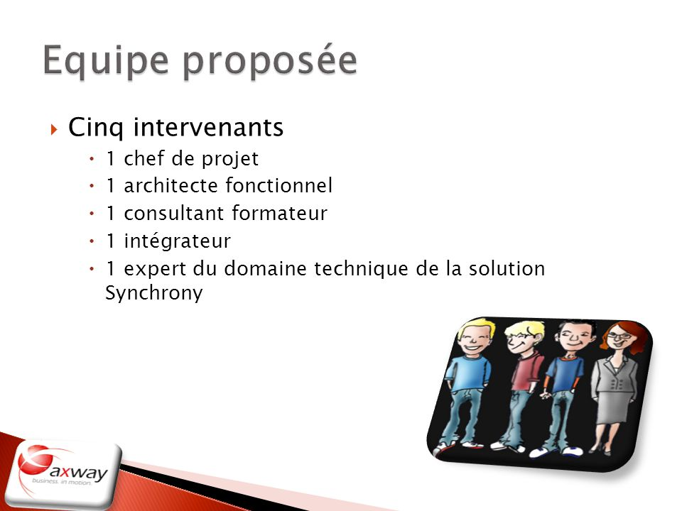 Equipe proposée Cinq intervenants 1 chef de projet