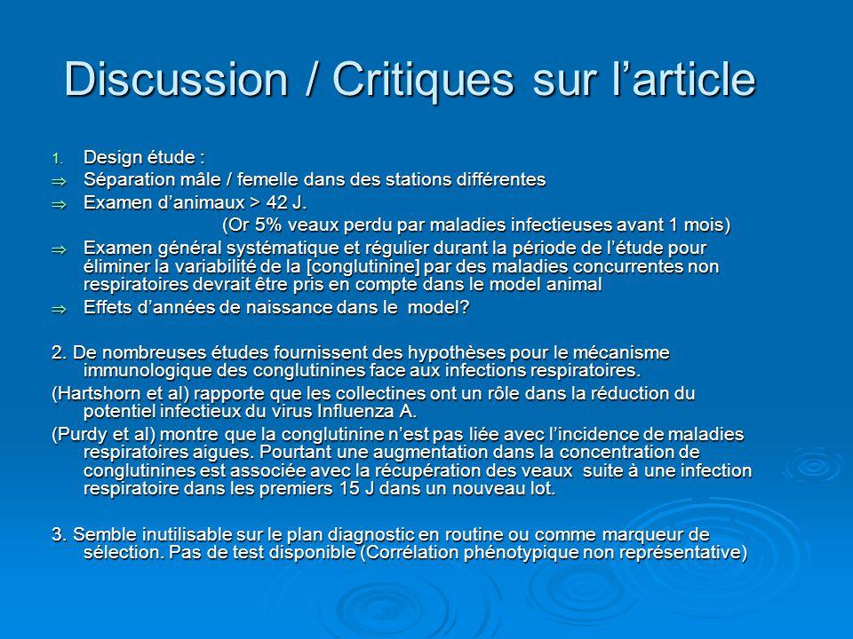 Discussion / Critiques sur l'article