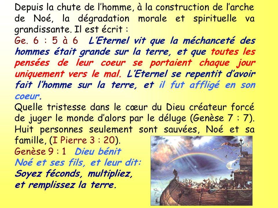 Depuis la chute de l'homme, à la construction de l'arche de Noé, la dégradation morale et spirituelle va grandissante. Il est écrit :