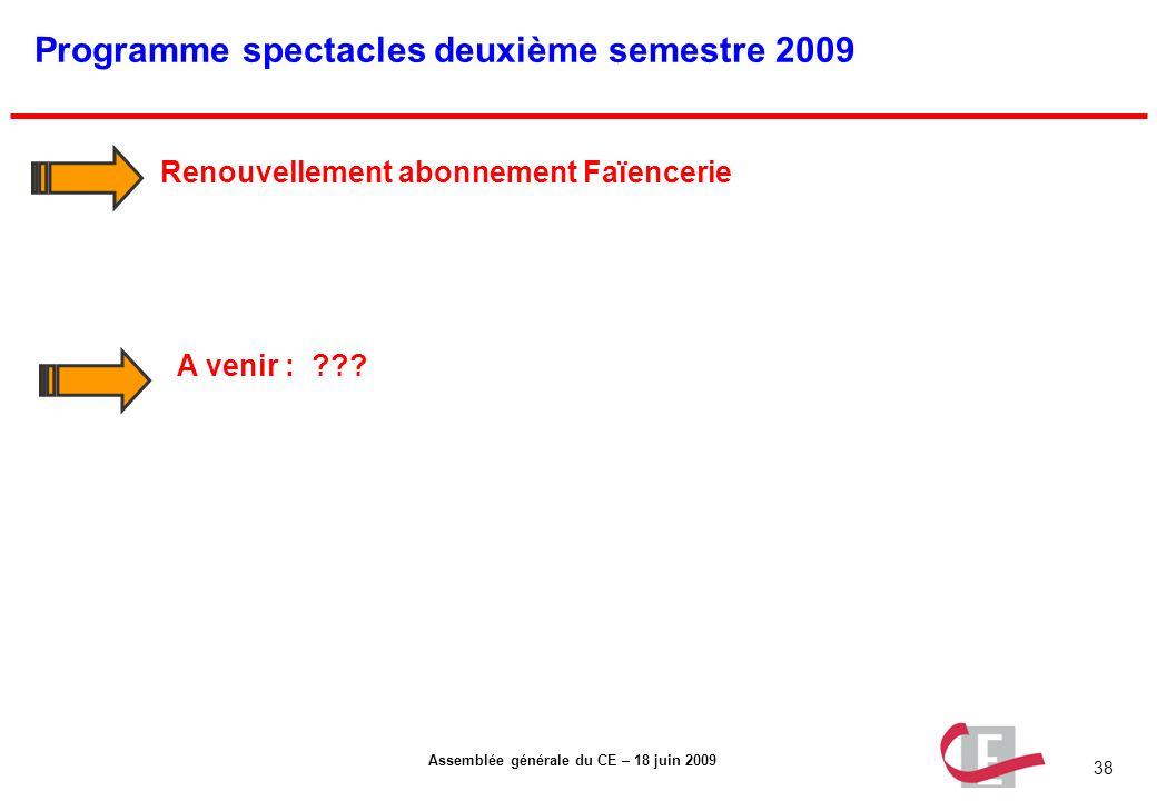 Programme spectacles deuxième semestre 2009