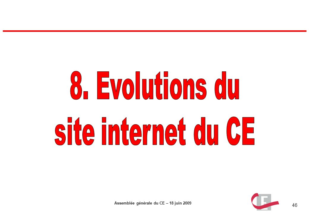 8. Evolutions du site internet du CE