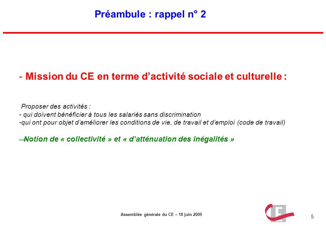 Mission du CE en terme d'activité sociale et culturelle :