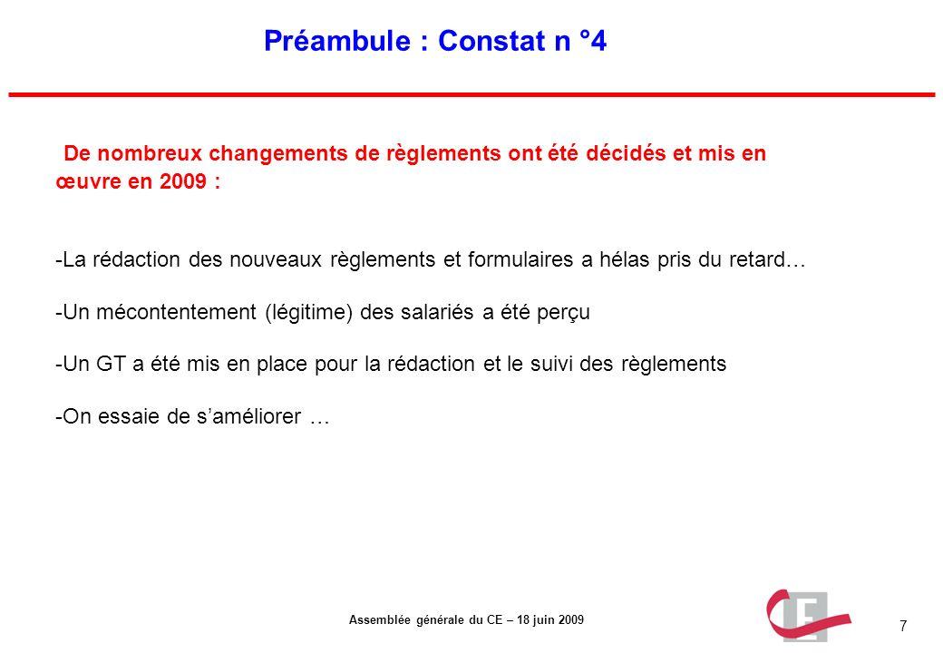 Préambule : Constat n °4 De nombreux changements de règlements ont été décidés et mis en œuvre en 2009 :
