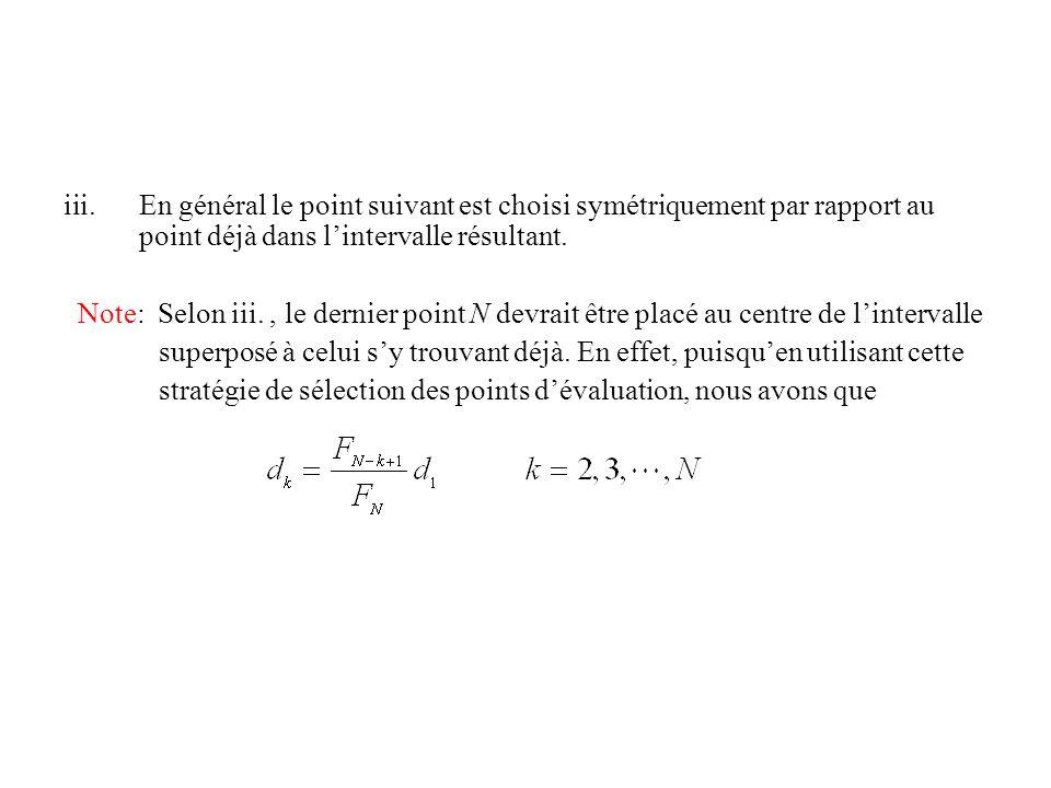 En général le point suivant est choisi symétriquement par rapport au point déjà dans l'intervalle résultant.