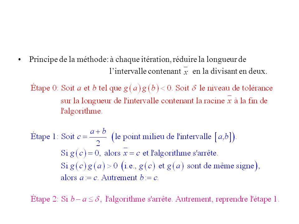 Principe de la méthode: à chaque itération, réduire la longueur de