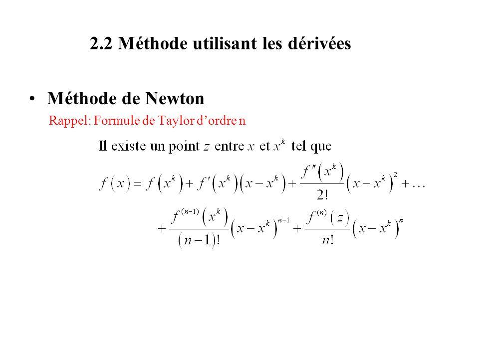 2.2 Méthode utilisant les dérivées