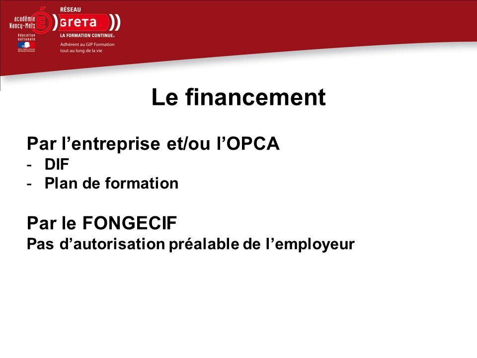 Le financement Par l'entreprise et/ou l'OPCA Par le FONGECIF DIF