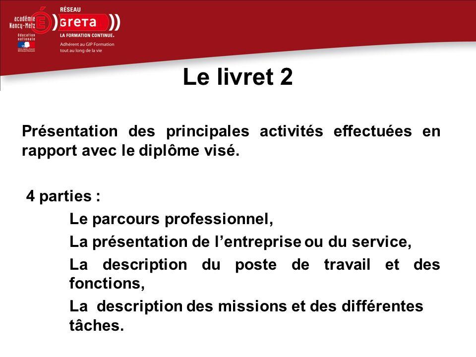Le livret 2 Présentation des principales activités effectuées en rapport avec le diplôme visé. 4 parties :
