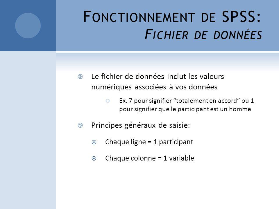Fonctionnement de SPSS: Fichier de données