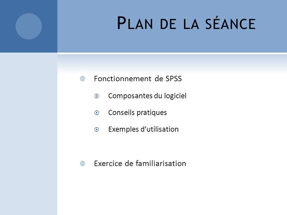 Plan de la séance Fonctionnement de SPSS Exercice de familiarisation