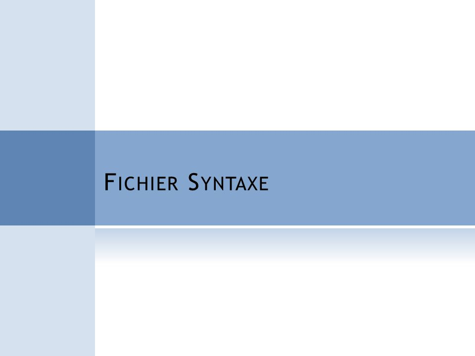 Fichier Syntaxe