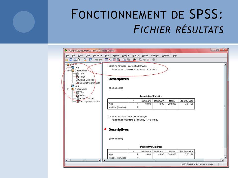 Fonctionnement de SPSS: Fichier résultats