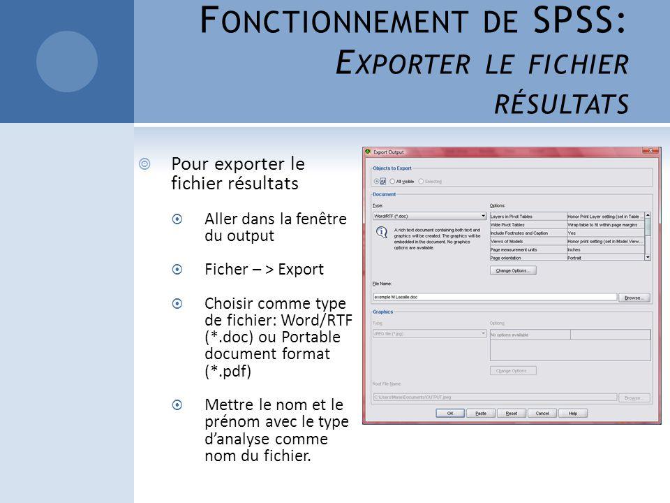 Fonctionnement de SPSS: Exporter le fichier résultats