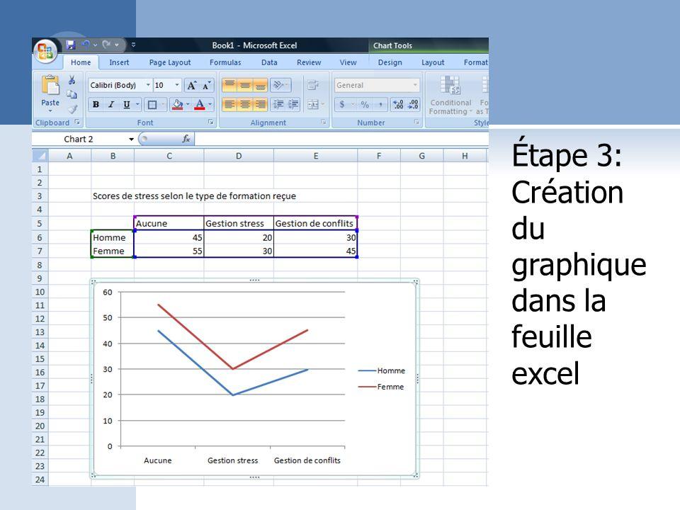 Étape 3: Création du graphique dans la feuille excel