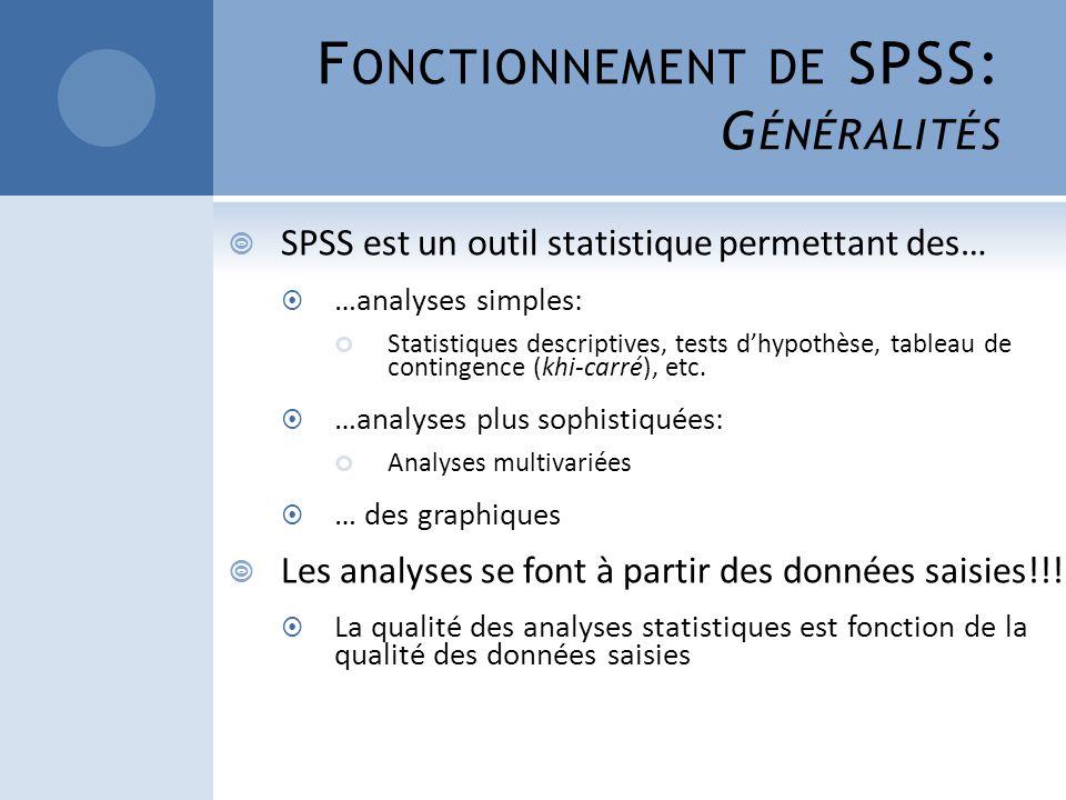 Fonctionnement de SPSS: Généralités